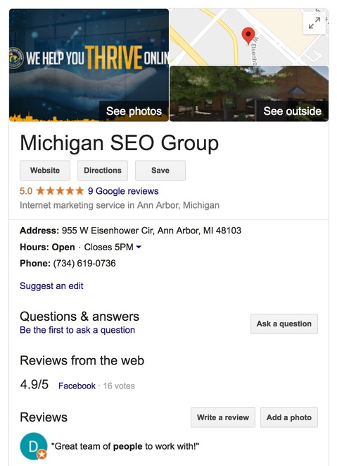 MIchigan SEO Group on Google My Business